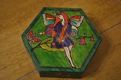 Made in Poland Hexagon Wooden Box with a fairy on lid - NICE!!
