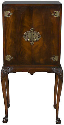 Antique Style Queen Anne Mahogany Liquor Cabinet on Legs Cocktail Drinks Bar