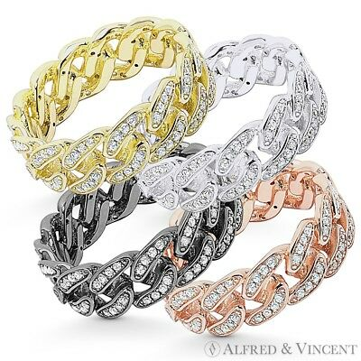 Cuban / Curb Link Chain CZ Crystal Pave Ring .925 Sterling Silver Eternity Band