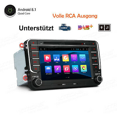 "Android 8.1/8.0 GPS DAB+ Autoradio 7"" Navi DVD für VW Golf Tiguan Touran Polo T5"