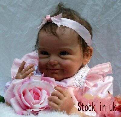 Lifelike 22in Soft Silicone Vinyl Smile Girl Reborn Doll Realistic Newborn Baby