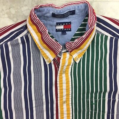 Tommy Hilfiger Vintage 90s Men's Button Down Rainbow Striped Large Shirt A5