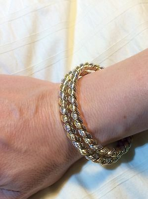 Vintage Antique 18K White & Yellow Gold PAIR Of Bracelets - US Oil History