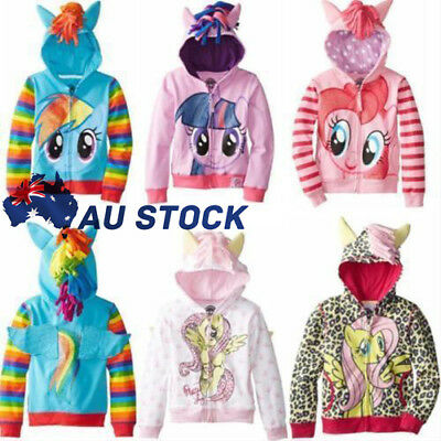 Baby Girls My Little Pony Hoodies Zip Up Jacket Jumper Ear Mane Wings Size 0-8Y