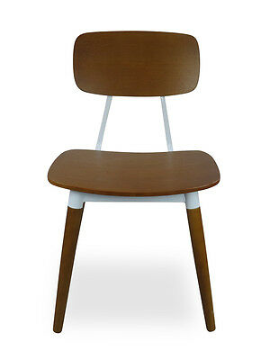 CLEARANCE - French Vintage Industrial Chair - Light Brown / White