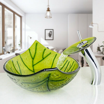 Bathroom Green Leaves Tempered Glass Vessel Basin Sink with Chrome Faucet Set