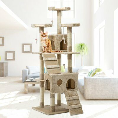 Cat Tree Scratching Post Sisal Pole Condo Toy House Furniture Multi level 180cm