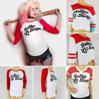 Harley Quinn Daddy's Lil Monster T-shirt Cosplay Suicide Squad Inspired Tops Tee