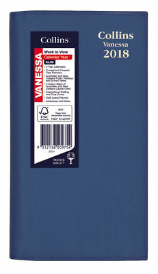 2018 Collins Vanessa Diary Diaries B6/7 Slim Landscape Week To Open - Blue