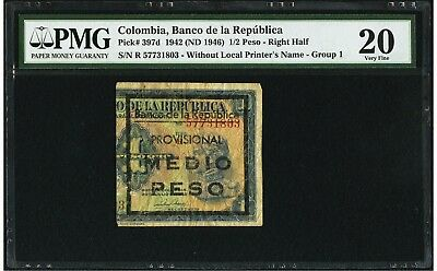Colombia 1/2 peso 1942 right side, provisional use. PMG VF20