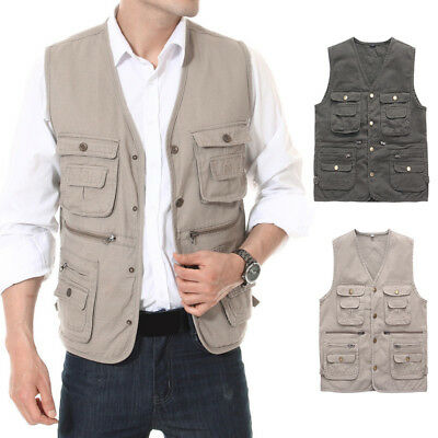 Mens Multi Pocket Vest Photographer Fishing Outdoor Camping Hiking Clothes 2017