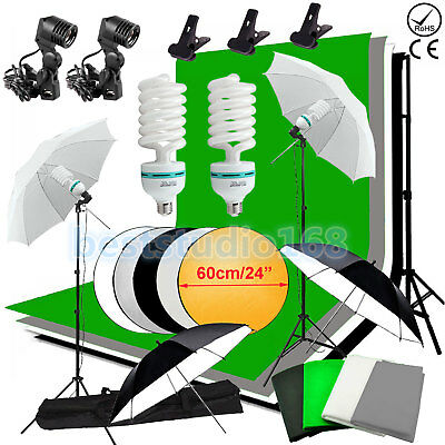 Photo Studio Support Fond Kit d'éclairage 4 Backdrops parapluie en continu Lampe