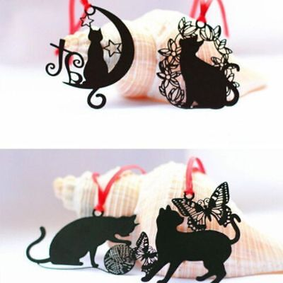New 2pcs Black Cat Shape Metal Bookmark Book Marks Card Book Page Holder Gift