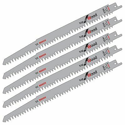 "5 Bosch S1531L 240Mm 10"" Hcs Reciprocating Sabre Saw Blades. Fast Cut For Wood"