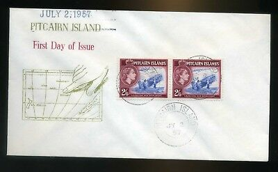 1957 Pitcairn Island cover 2s6d horizontal pair