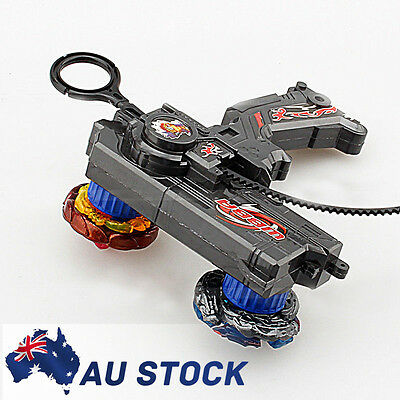 BLACK Metal Master Fusion Top Rapidity Fight Rare Beyblade 4D Launcher Set AU