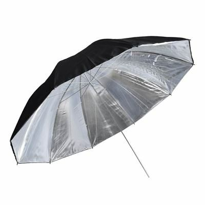 "Studio 60"" 150cm Double Layer Lighting Black Silver Reflective Umbrella UK"