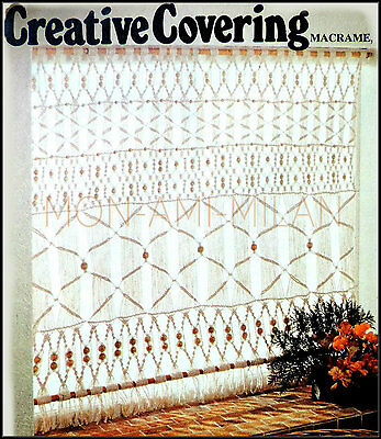 Vintage Macrame Pattern • Covering • Curtain • Interwoven with Beads • Craft