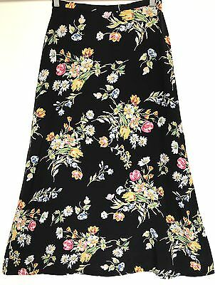 Vintage 1990s Black Pink Yellow Blue Green Floral A-line Maxi Skirt S