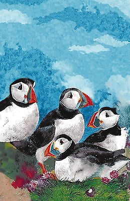 "Ulster Weavers, ""Puffins"" by Alex Clark, Pure linen printed tea towel"