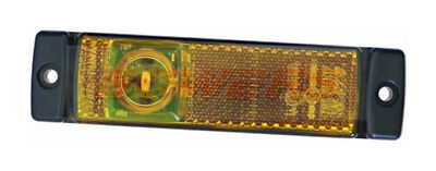 Hella 2Ps008645001 Led Amber Yellow Side Marker Light Lamp 24V Volt W/ Reflector