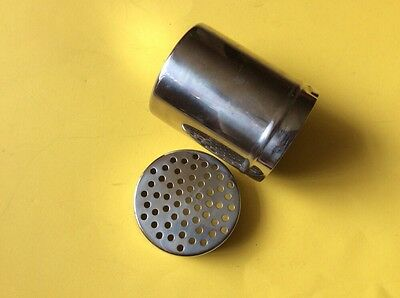 "STAINLESS STEEL SHAKER  Approx 4"" TALL. 3"" DIAMETER  USEFUL ITEM"