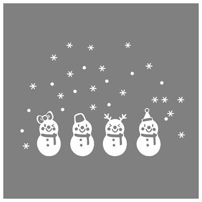 Lovely Window Decoration White Snowflake Merry Christmas Snowman Wall sticker SS