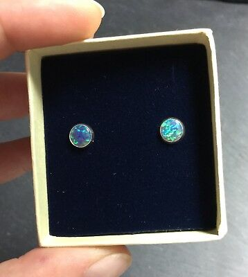 Beautiful Created Green Fire Opal 6mm Silver 925 Earrings Gift Boxed Christmas