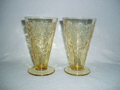 Amber Madrid Federal Depression Glass Footed Iced Tea Tumblers (2) FREE U.S SHIP