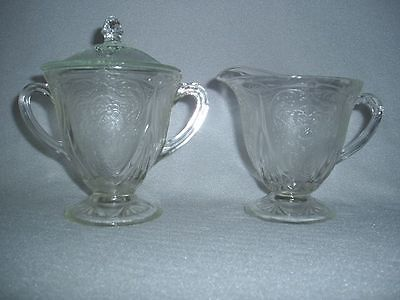 Crystal Royal Lace Hazel Atlas Depression Glass Sugar, Lid & Creamer...FREE SHIP