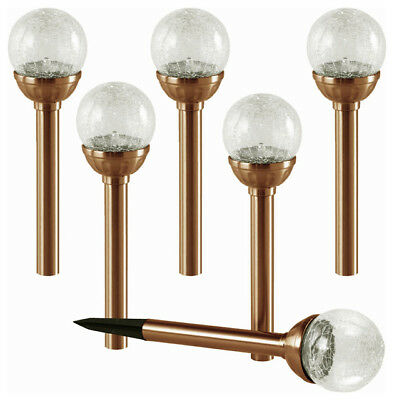 6 Packs Color Changing Stainless Steel Crackle Ball Solar Garden Lights