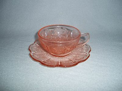 Pink Jeannette Cherry Blossom Depression Glass Child's Cup & Saucer Free US Ship