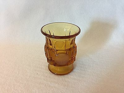 Fostoria COIN GLASS Amber CIGARETTE URN Holder Frosted Coins Free U.S Shipping