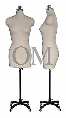 Pinnable Female Mannequin Dress Form, W/ Heavy Duty Rolling Base, Size 8 (mt 8)