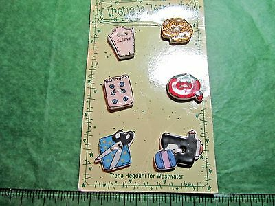 """(6) 3/4""""-1"""" Trena's Trinkets Sewing Theme Ceramic 2-Hole Craft Buttons (N515)"""
