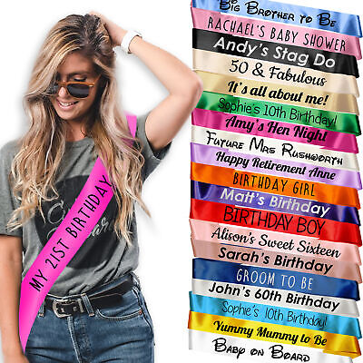 Personalised Custom Sash Hen Party Birthday Stag Do Girl Bride 18 21 30 Night