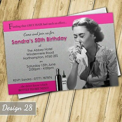 Funny Grey 30th 40th 50th 60th Invitations Personalised Birthday Party Invites