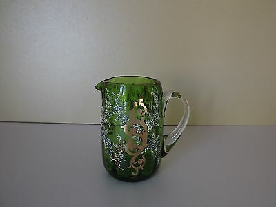 Small Vintage Green Glass Jug with Hand Painted Enamel & Gilt