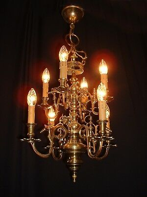 Vintage large Renaissance style French solid bronze chandelier 8 arms