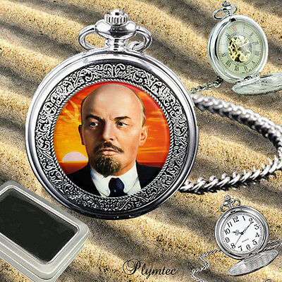 Lenin Soviet Communist Leader Quartz Pocket Watch Gift