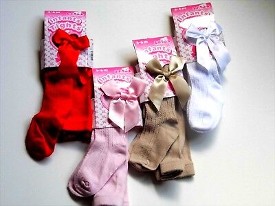 Baby Girl  Ribbed Bow  Tights Various Colours And Sizes