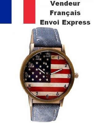@new 2018@ Montre Drapeau Usa American Flag Homme Femme Swag Jeans Idee Cadeau