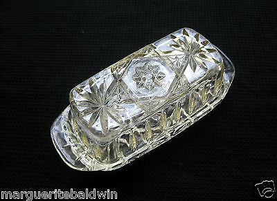 Anchor Hocking Glass Clear Early American Prescut Butter Dish & Cover