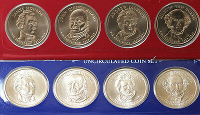 2008 Presidential Dollar Coins 8 Satin P and D US UNC Mint Set Blister Pack $1