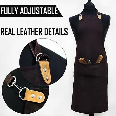 Fully Adjustable Apron in Brown One Size Fits All Work Wear Barber/Hairdresser