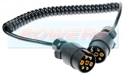 12N 7 Pin Plug 1.5M Trailer Lighting Towing Coiled Curly Connecting Cable Lead