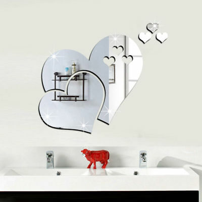 5Pcs/Set Removable 3D Mirror Hearts Wall Sticker Home Room Art Mural Decal Decor