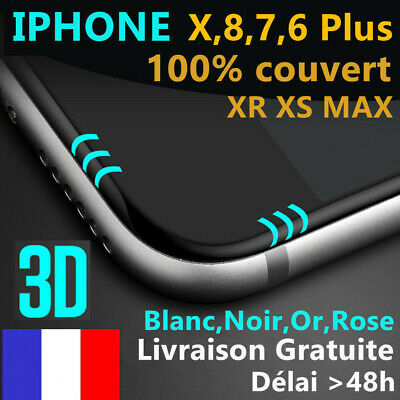VITRE VERRE TREMPE 3d Film protection écran tactile Total iPhone X/8/76/6S/Plus