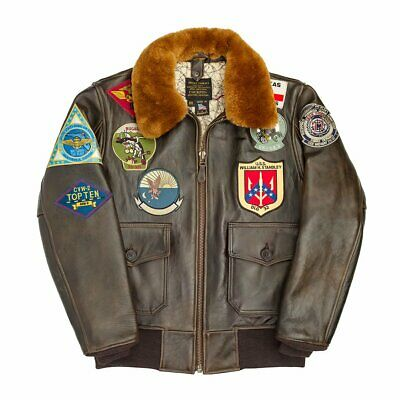 Cockpit Usa Top Gun Navy G-1 Leather Jacket Brown Made In Usa G1     # Z201036M