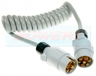 12S 7 Pin Plug - Plug Trailer Supplementary Coiled Curly Connecting Cable Lead